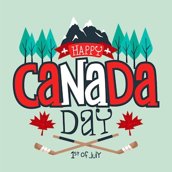 Happy canada day with mountains and trees