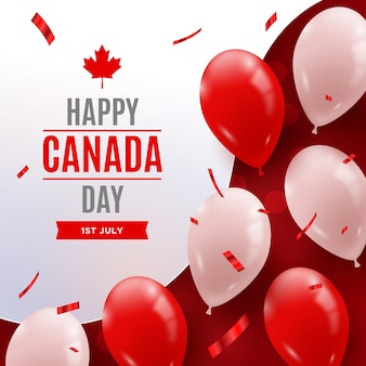Happy canada day with realistic balloons and confetti