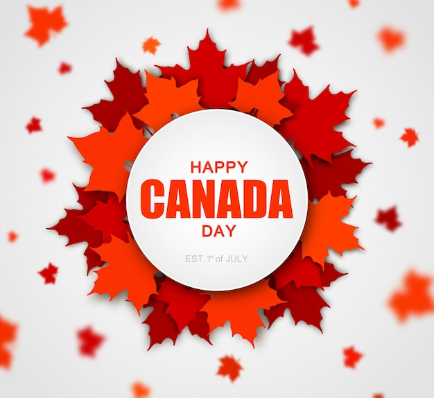 Красные канадские кленовые листья с надписью happy canada day