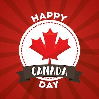 Happy canada day ярлык кленовый лист символ
