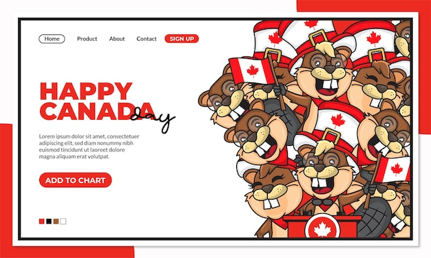 Happy canada independence day landing page template with cute cartoon character of beaver