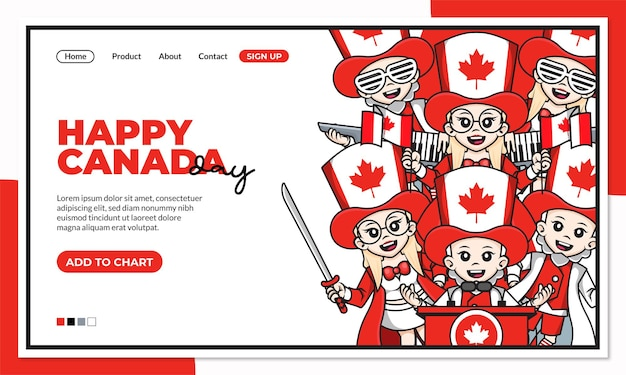 Happy canada independence day landing page template with cute cartoon character