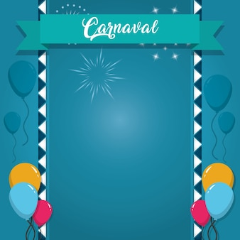 Happy carnaval card with decorative elements
