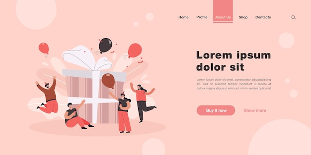 Happy cartoon adult characters celebrating landing page in flat style