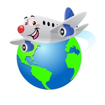 Happy cartoon airplane flying around the globe