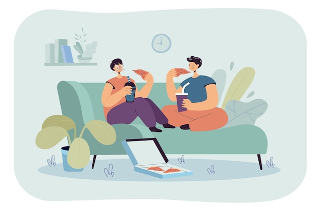 Счастливый мультфильм парень и девушка вместе едят пиццу