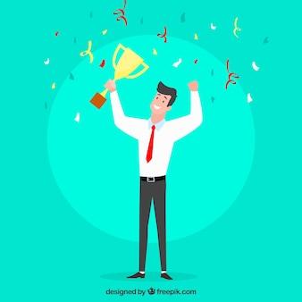 Счастливый мультипликационный персонаж, выигравший приз