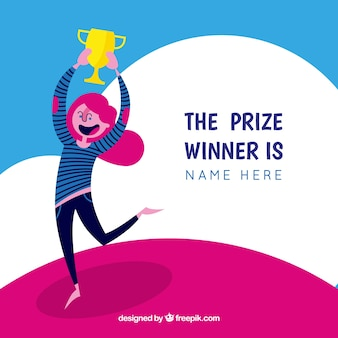 Happy cartoon character winning a prize