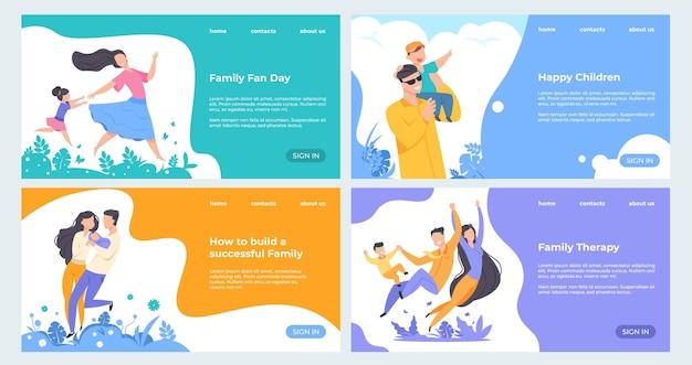 Счастливые герои мультфильмов с детьми на целевой странице