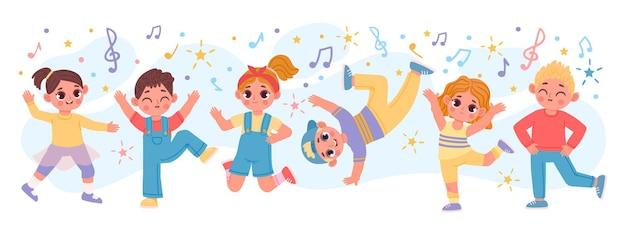 행복 한 만화 어린이 그룹 춤과 함께 점프. 재미있는 활동적인 아이 친구들이 놀아요. 댄스 파티 벡터 배너의 유치원 캐릭터. 음악을 들으며 즐거운 시간을 보내는 소년 소녀들