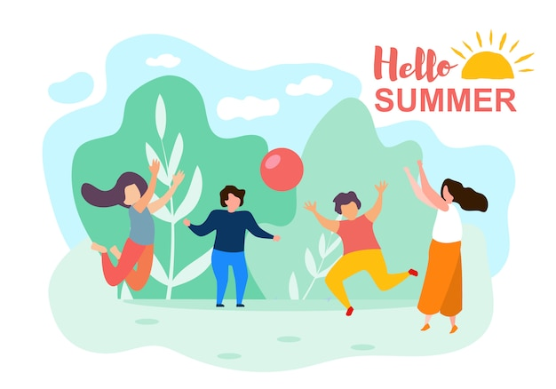 Happy cartoon children play ball sunny summer day