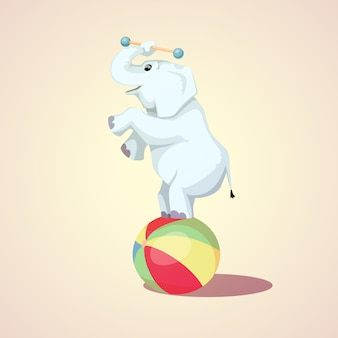 Happy cartoon circus elephant on the ball vector illustration