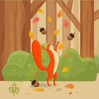Happy cartoon comic squirrel with autumn leaves in forest scenery landscape