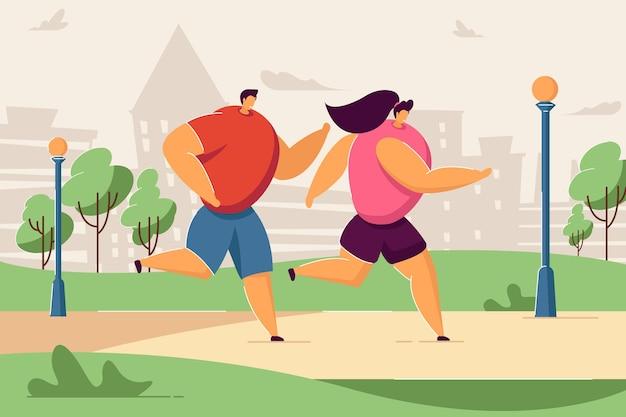 夏の都市公園で一緒にジョギングをしている幸せな漫画のカップル