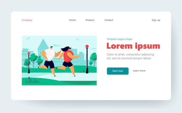 Happy cartoon couple doing jogging together in summer city park. flat vector illustration. athlete people running, doing sport, enjoying fitness, living healthy lifestyle. sport, health, hobby concept