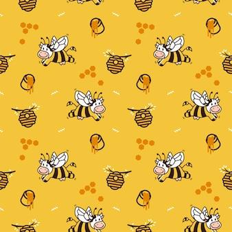 幸せな漫画の牛のハチ蜂蜜のハイブシームレスなパターンのベクトルの背景