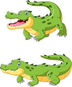 Happy cartoon crocodile are creeping