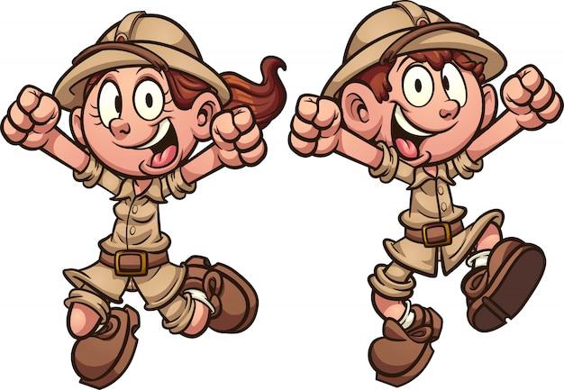 Happy cartoon explorer safari kids jumping.