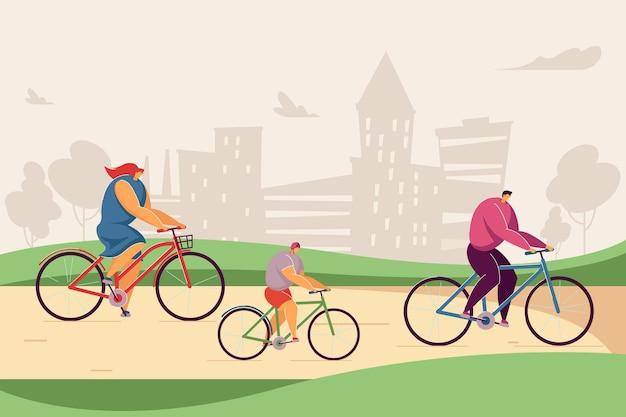 公園で一緒に自転車に乗って幸せな漫画の家族。フラットベクトルイラスト。街の背景で野外活動をしながらヘルメットをかぶった母、父と子。家族、レジャー、健康的なライフスタイルのコンセプト