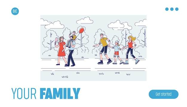 행복 한 만화 가족 함께 시간을 보내고 템플릿 선형 방문 페이지 디자인
