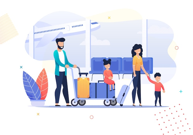 Happy cartoon family travel activities in airport
