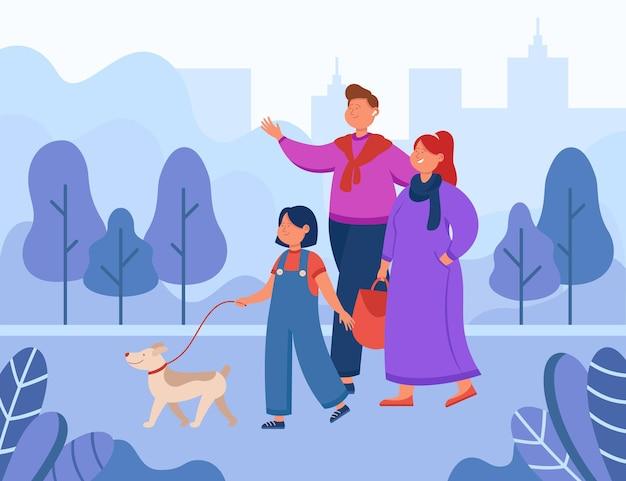 Happy cartoon family walking dog in city park. flat illustration