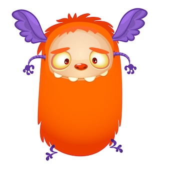 Happy cartoon flying orange monster.  vector illustration for halloween