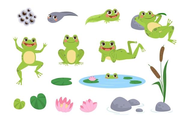 Набор иллюстраций счастливых мультяшных лягушек
