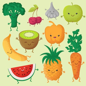 Happy cartoon fruits and garden vegetables with funny cute faces characters