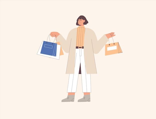 Счастливый мультфильм девочка с хозяйственной сумкой