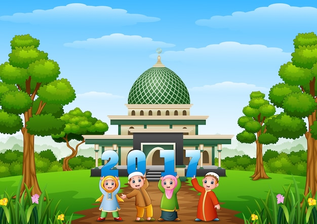 Happy cartoon kids celebrate eid mubarak on year 2017