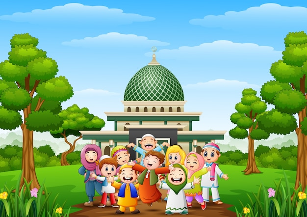 Happy cartoon kids celebrate eid mubarak