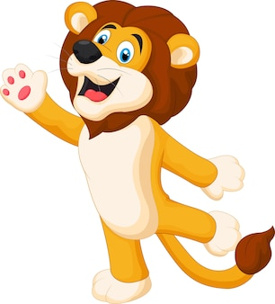 Happy cartoon lion posing