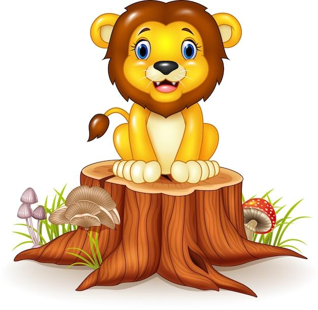 Happy cartoon lion sitting on tree stump