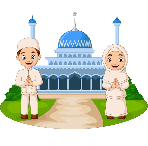 Счастливый мультфильм мусульманских детей перед мечетью