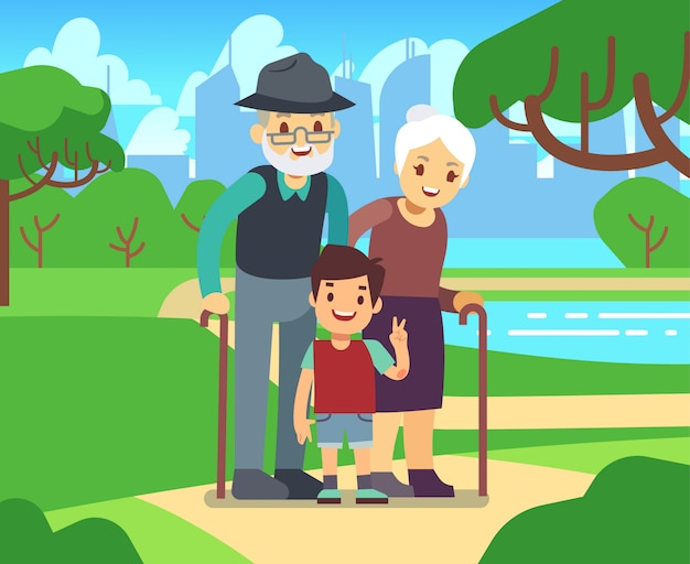 Happy cartoon older couple with grandson in park vector illustration. grandfather and grandmother together grandson