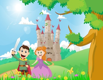 幸せな漫画の王子と城の背景を持つ王女