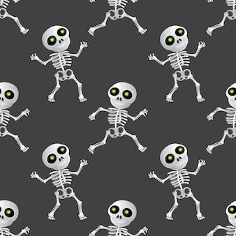 어두운 회색 배경에 행복 만화 해골 완벽 한 패턴입니다. 해피 할로윈 휴가 또는 죽음의 날(dia de muertos)에 대한 벡터 그림