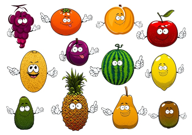 幸せな漫画の夏のリンゴ、オレンジ、ブドウ、パイナップル、桃、レモン、キウイ、スイカアボカド梨、プラム、メロンフルーツ。