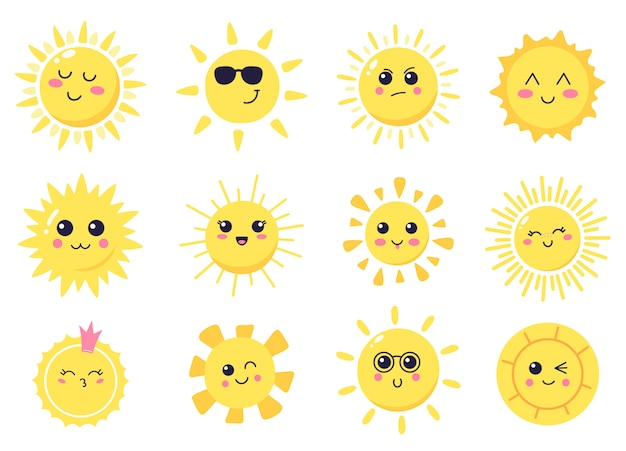 Happy cartoon sun. hand drawn cute smiling suns, sunny happy characters, shining bright sun  illustration symbols set. sun and sunlight, sunshine smile cute, summer bright