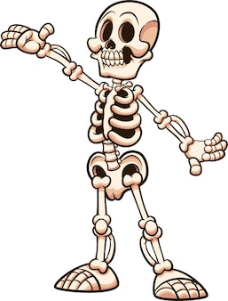 Happy cartoon white skeleton with presenting pose  illustration