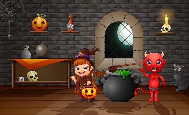 Счастливая мультяшная ведьма и красный дьявол