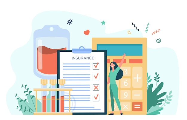 Happy cartoon woman holding health insurance. insurance checklist with calculator and blood samples. vector illustration for healthcare, medical assistance, service