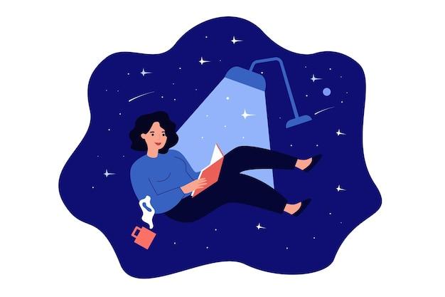 Happy cartoon woman reading and fantasizing at night flat illustration