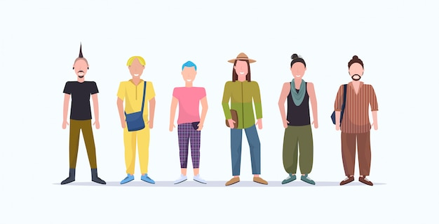 Happy casual men standing together smiling guys with different hairstyles wearing trendy clothes male cartoon characters full length  white background horizontal