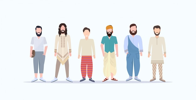 Happy casual men standing together smiling mix race guys with different hairstyles wearing trendy clothes male cartoon characters full length  white background horizontal