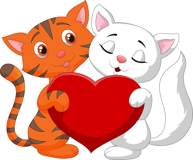 Happy cat couple holding red heart
