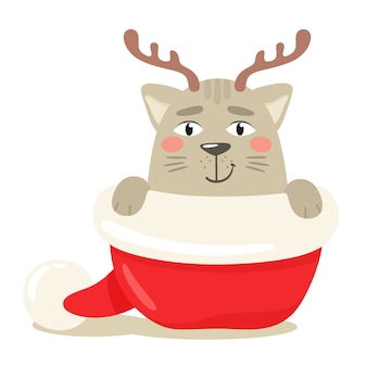 Happy cat hiding with christmas deer antlers in santa claus hat.  illustration in flat style.