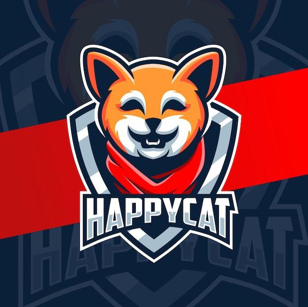 Счастливый кот талисман логотип персонажа