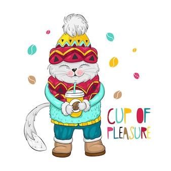 그의 발에 커피 컵이 있는 행복한 고양이, 즐거운 글자 한 컵, 어린이 티셔츠 및 기타를 위한 캐릭터 삽화.